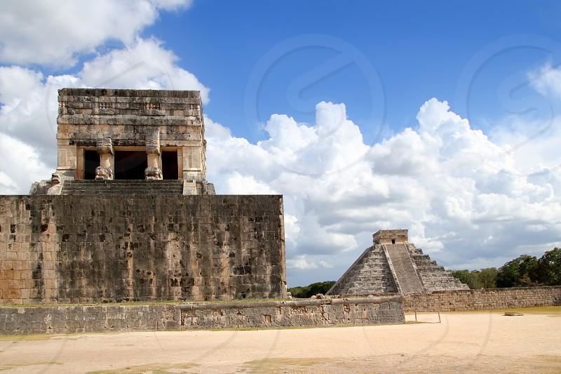 Chichen Itza Jaguar temple and Kukulkan Mayan pyramid Mexico Yucatan photo
