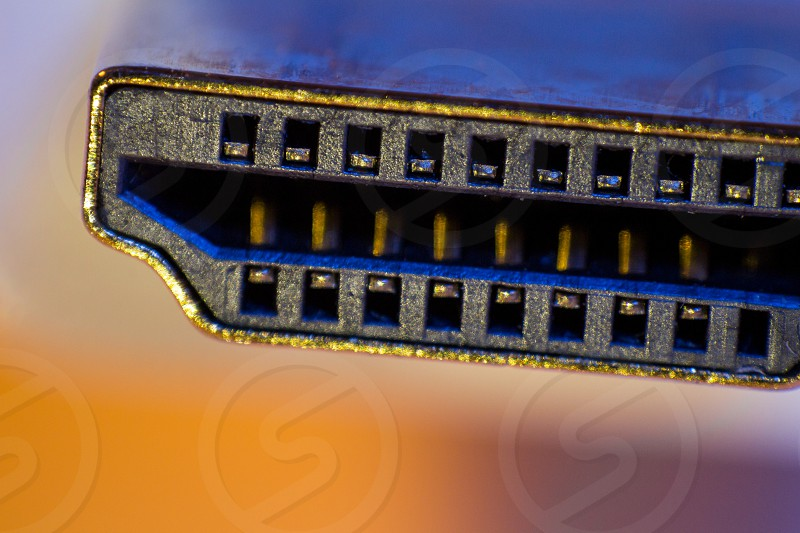 Macro closeup of HDMI cable connector. photo