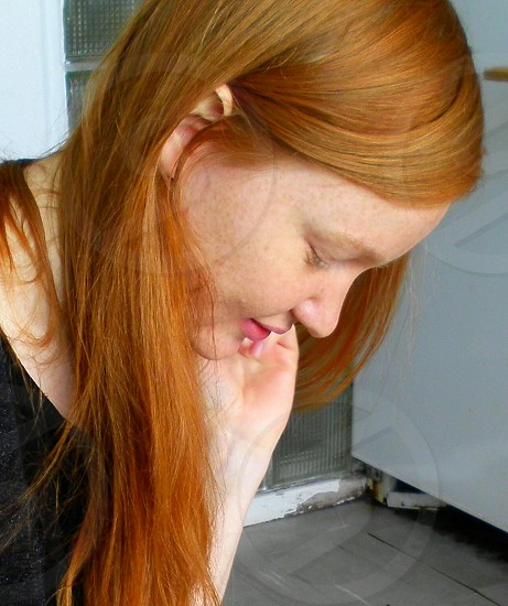 Redhead redheaded redhair beauty girl natural beautiful gorgeous natural. photo