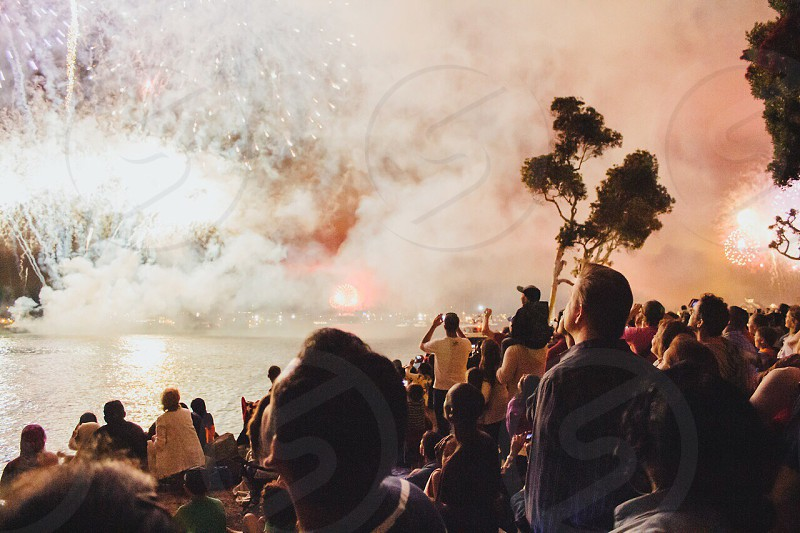 people watching fireworks display photo