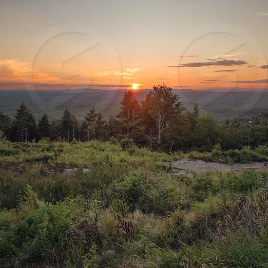 Maine sunset Landscape green New England nature sundown peaceful summer quiet orange photo