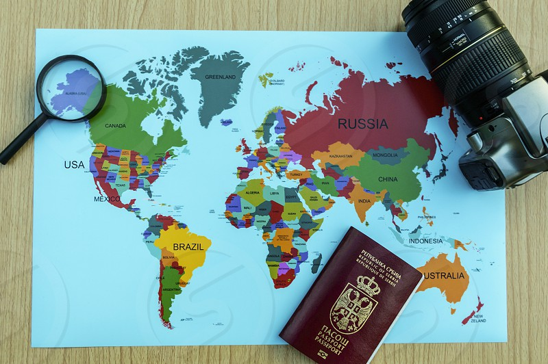 Maps flat lay continents countries travel photo