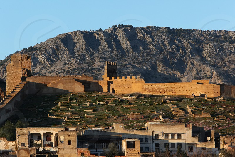 The Citywall in the old City in the historical Town of Fes in Morocco in north Africa. photo