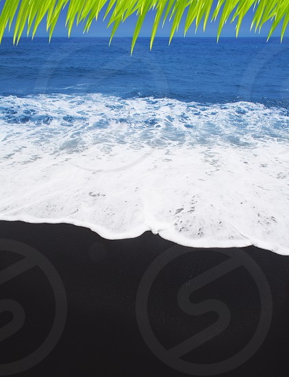 Black sand beach volcanic in Tenerife at Canary Islands photo