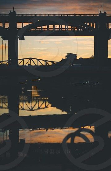 Bridges over the River Tyne at sunset photo