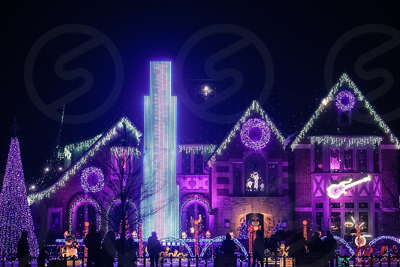 Ultra violet; violet; holidays; Christmas lights; December  photo