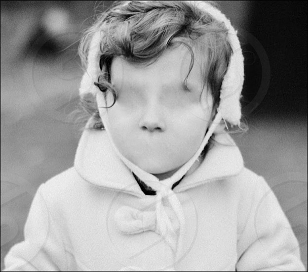 Girl child creepy black and white vintage face artistic art conceptual photo