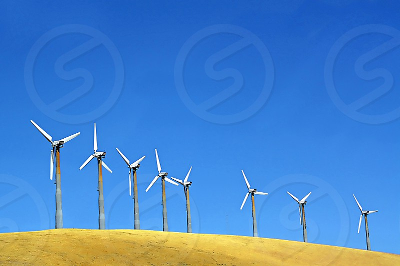 Detail of a wind energy farm photo