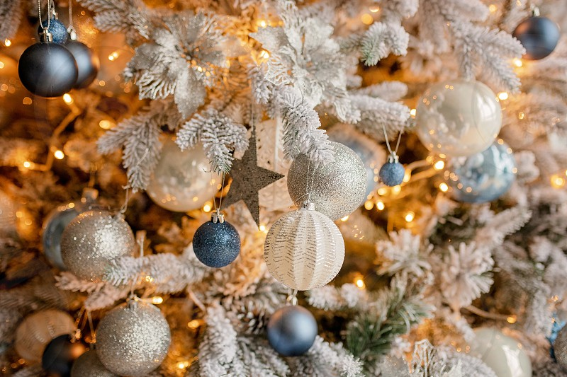Christmas holiday decorations with lights and garland photo
