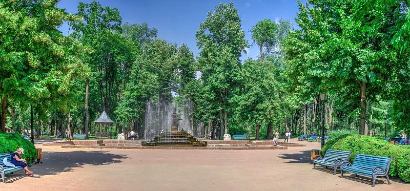 Chisinau Moldova – 06.28.2019. Fountain in the Central Park of Stefan cel Mare Chisinau Moldova on a sunny summer day photo