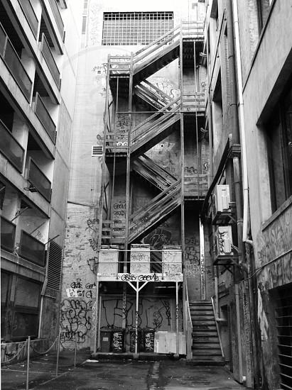 abandoned stairwell graffiti laneway Melbourne photo