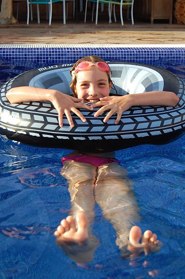 girl with swim ring photo