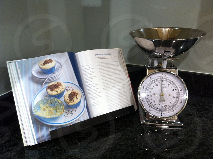 Kitchen scales cookery book recipe cooking baking photo