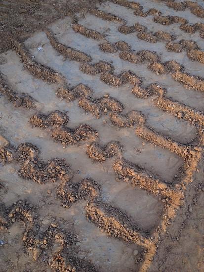 wheel tracks on sand photo