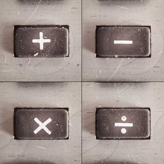 Set of basic math operations buttons from an old calculator.  photo