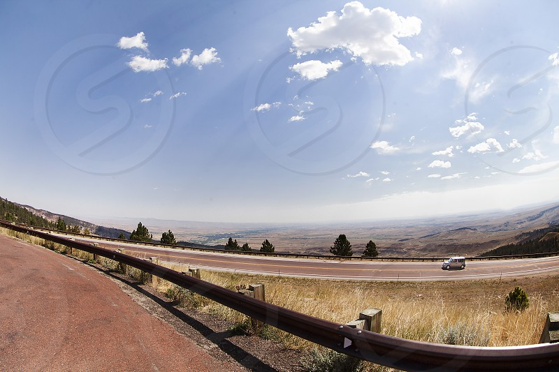 Driving up the Bighorn Mountains in Wyoming photo
