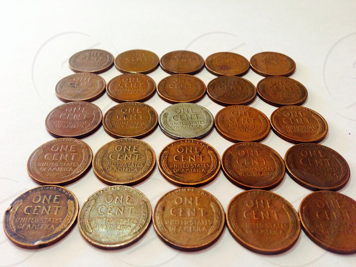 copper one cent coins photo