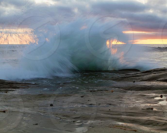 view of the sea wave splash photo