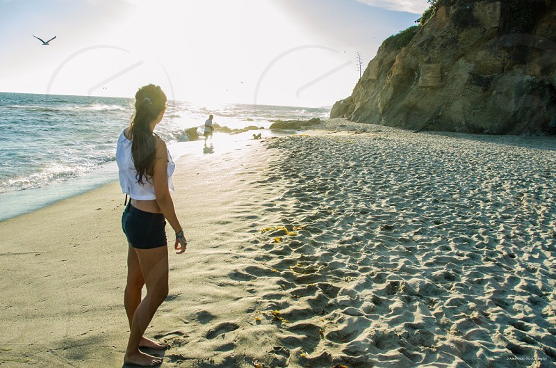 Beach southern California Laguna ocean beautiful girl photo