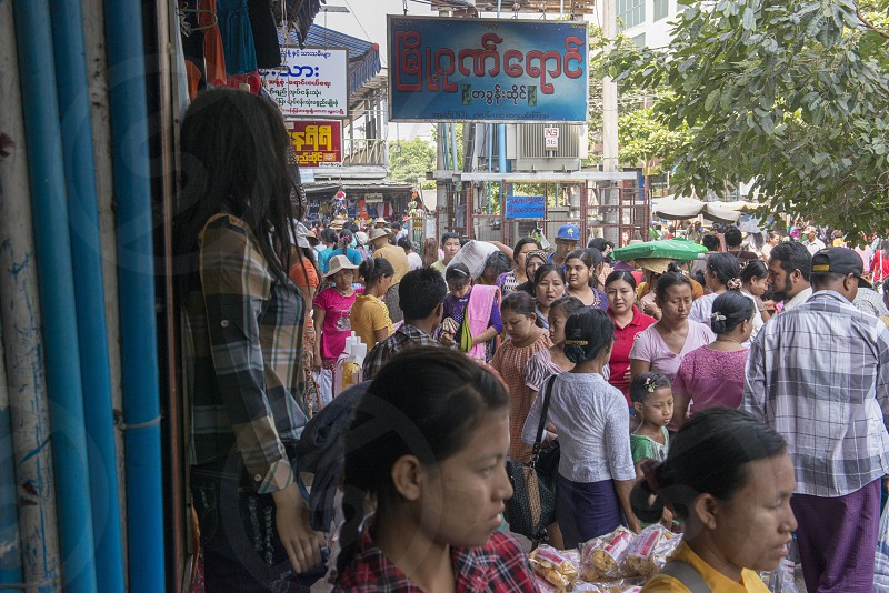 a marketstreet in the City of Mandalay in Myanmar in Southeastasia. photo