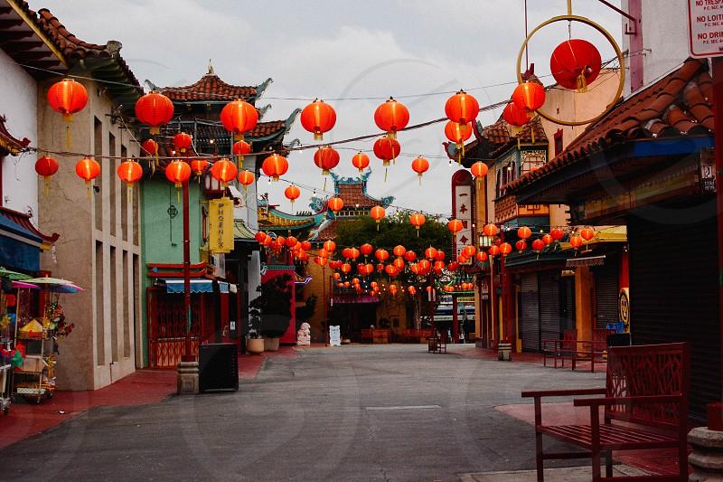Chinese lanterns hop louie china town at night photo