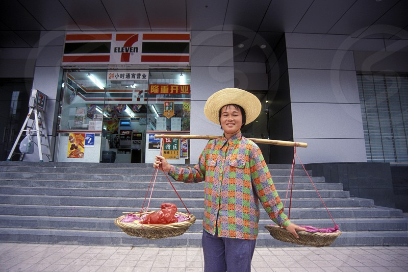 a 7eleven shop in the city of Shenzhen north of Hongkong in the province of Guangdong in china in east asia.  photo