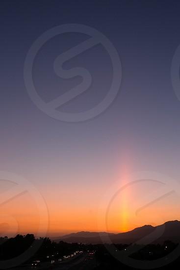 sunset orange highway photo
