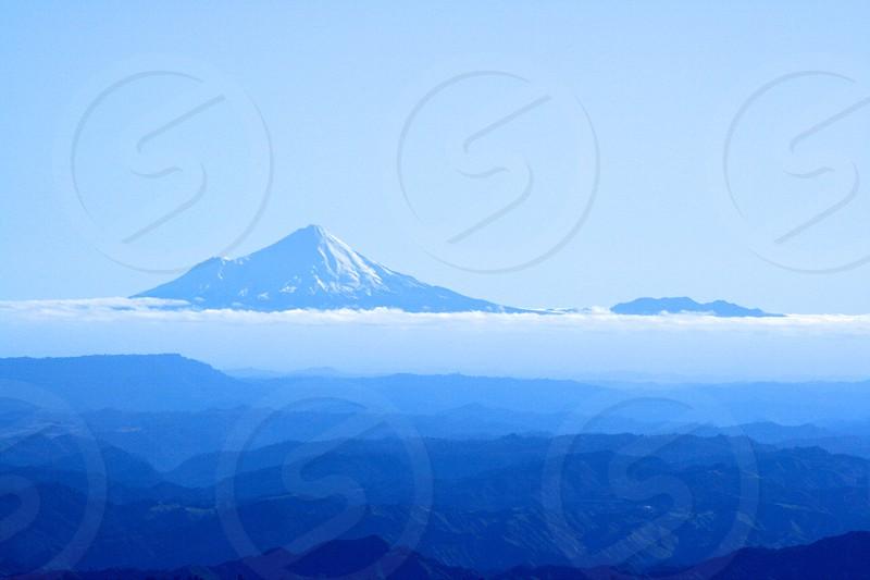 Mount Taranaki taken from Mount Ruapehu North Island New Zealand photo
