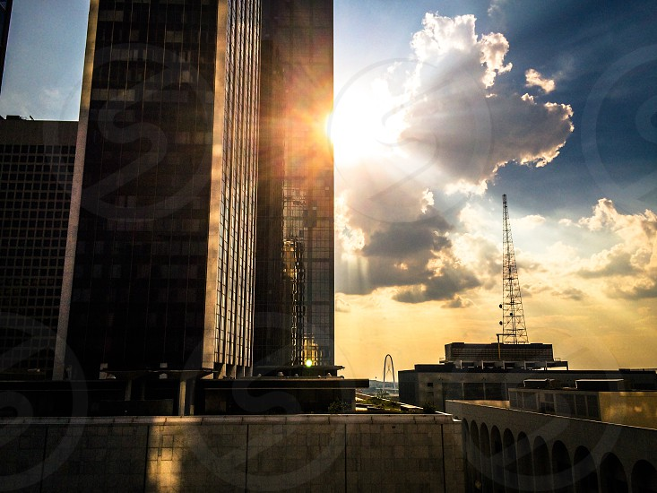 Dallas Texas sunset architecture downtown city buildings flare tall photo