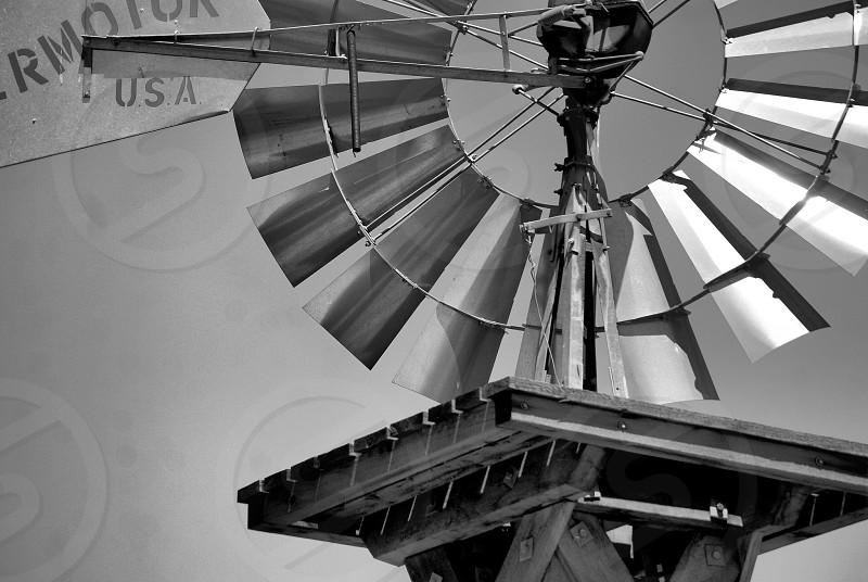Windmill in black and white  photo