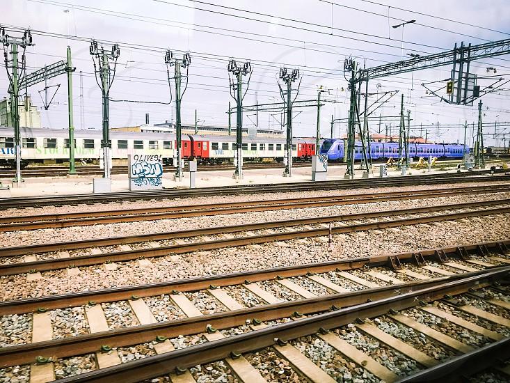 Train station trains track transport  transportation  railway railway station   photo
