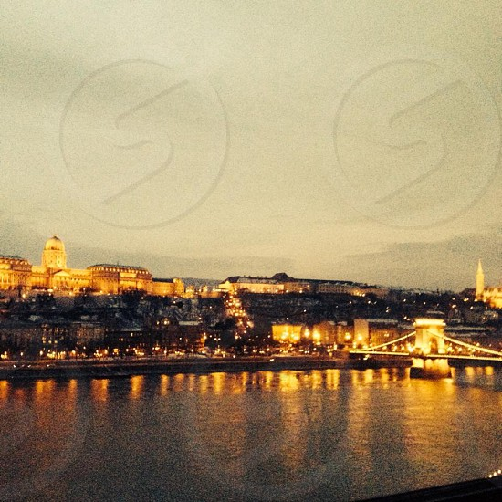 Budapest from the Pest side of the blue Danube.  photo