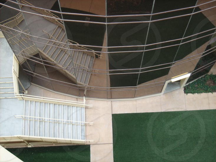 View of white staircase and window glass photo