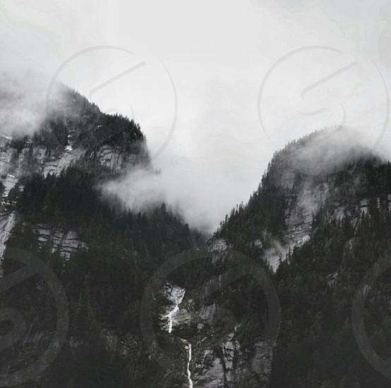 black and white mountains photo