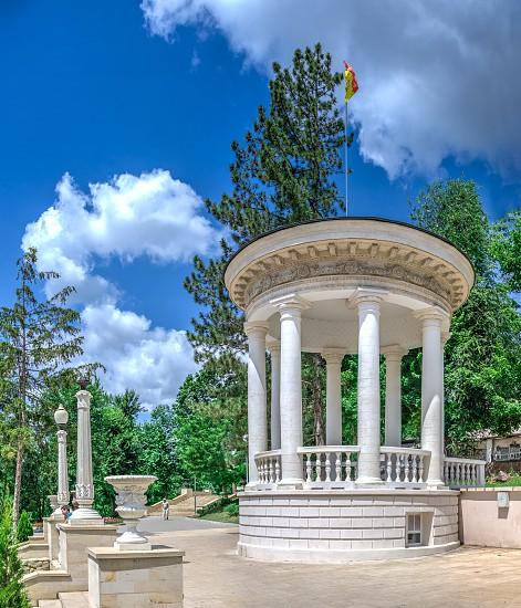 Chisinau Moldova – 06.28.2019. Rotunda at the cascading stairs in Chisinau Moldova on a sunny summer day photo