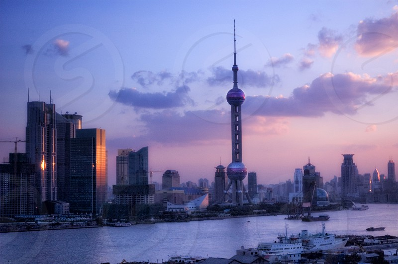 Sunset on the Pudong River Shanghai China photo