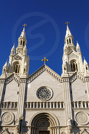 The external facade of the Catholic Church of Saints Peter and Paul in San Francisco's North Beach neighborhood photo