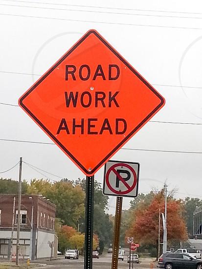 road work ahead sign photo