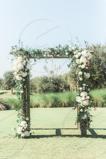White roses wedding altar photo