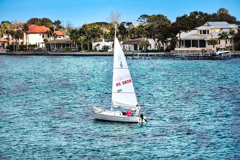 St. Augustine Florida. January 26  2019. Sailboat on colorful sea background in Florida's Historic Coast . photo