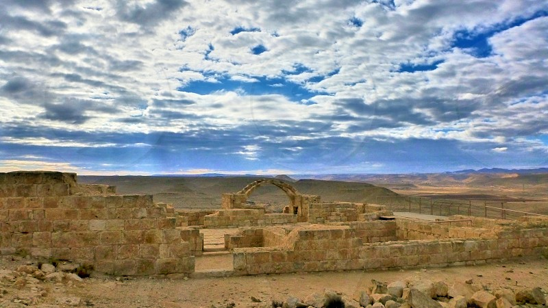 View at antique ruins. Desert in Israel. photo