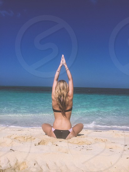Beach yoga sun ocean Turks and Caicos swim tan photo