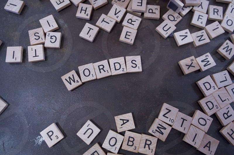 Words letters scrabble tiles photo