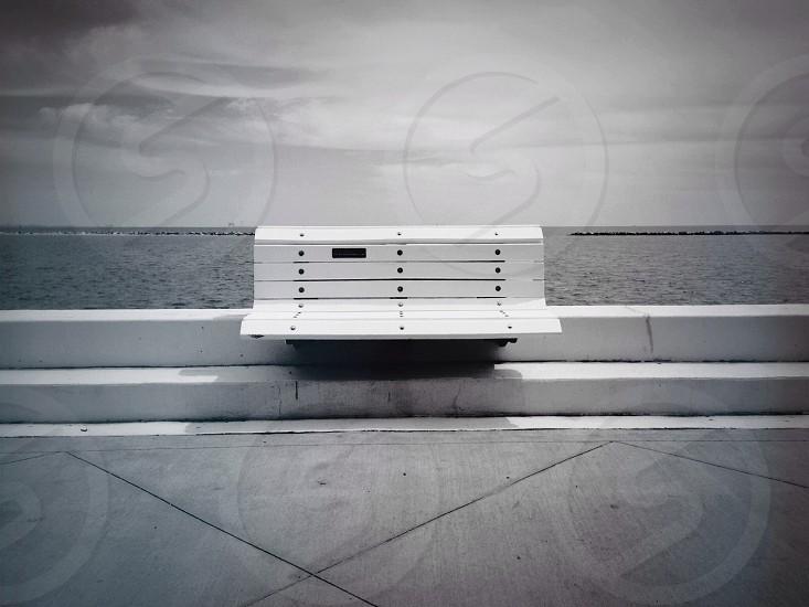 white waiting bench photography photo