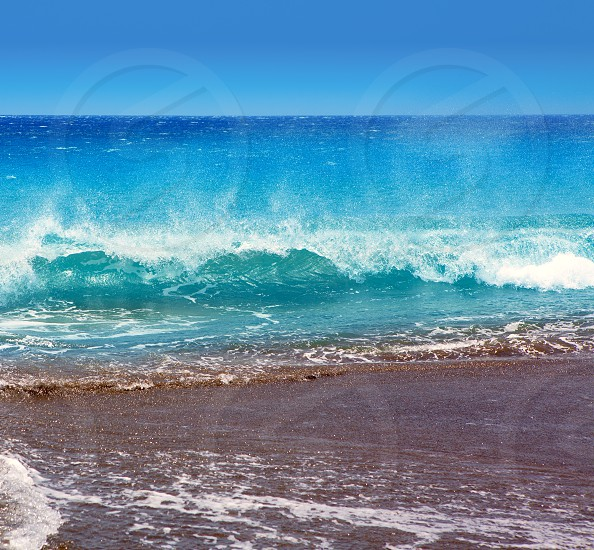 Canary Islands brown sand beach and tropical rough turquoise waves photo
