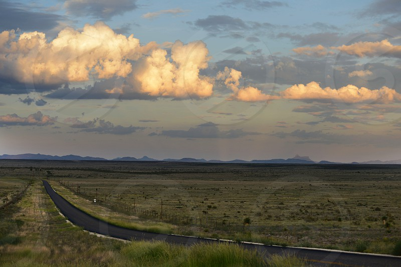 west texas marfa country road texas open space field mountains sunset country photo