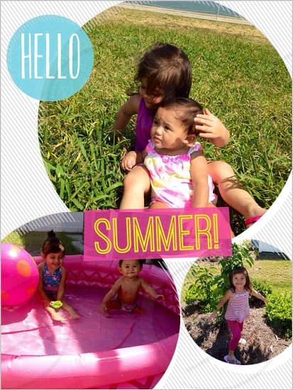 girl and baby sitting on grass field with Hello Summer caption in collage photo