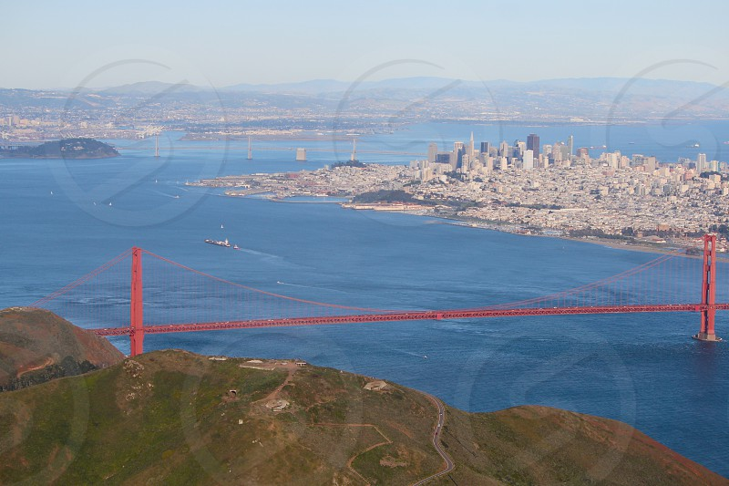 Golden Gate Bridge the Marin headlands and San Francisco's skyline as seen from an airplane. photo