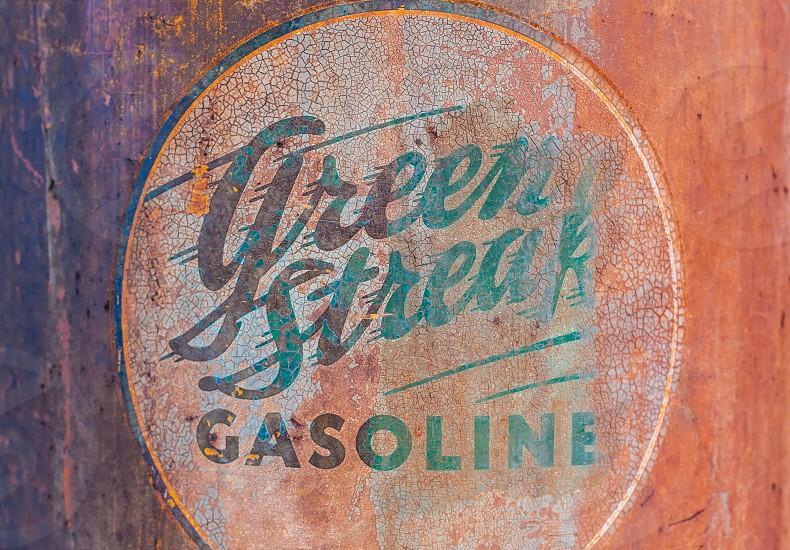 Weathered 'Green Streak' gasoline pump photo