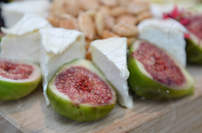 Breakfast figs Brie cheese almonds photo